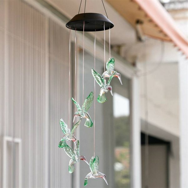 Hanging Hummingbird Lights Led Outdoor Rgb Wind Chimes Solar Powered Lamp Garden (5)