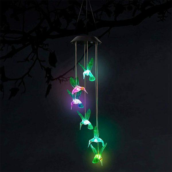Hanging Hummingbird Lights Led Outdoor Rgb Wind Chimes Solar Powered Lamp Garden (9)