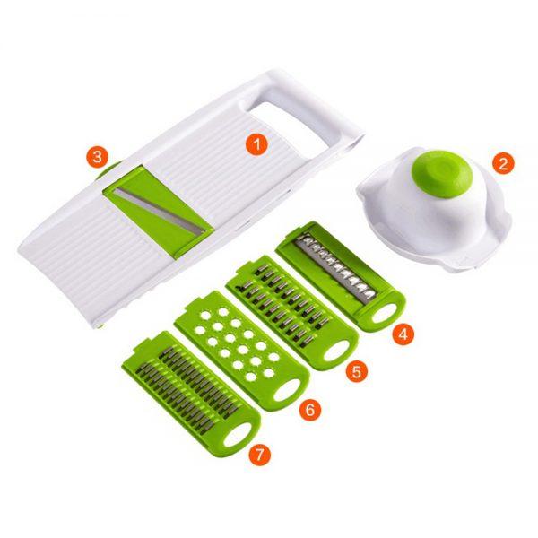 Kitchen Food Fruit Vegetable Cutter Chopper Tools 7 In 1 Mandolin Slicer (4)