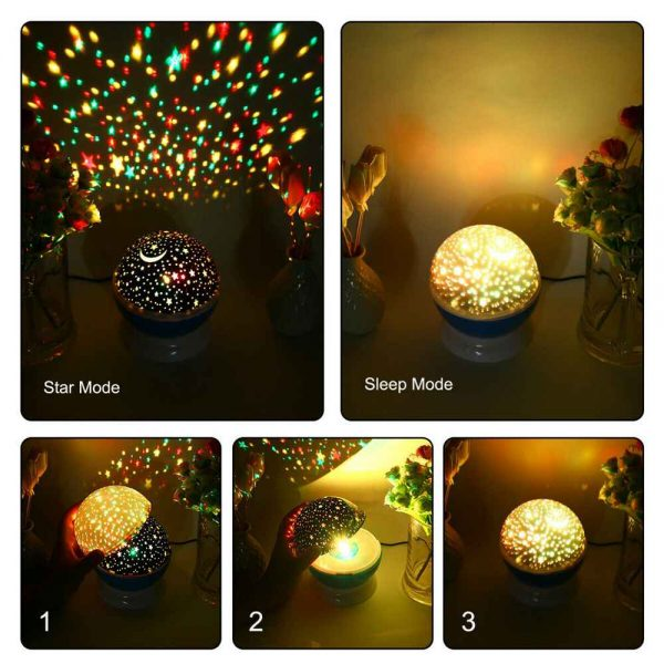 Led Night Lights Rotating Projector Starry Star Sky Light Baby Kids Bedside Lamp (10)