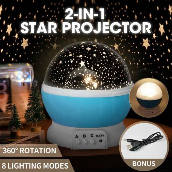 Led Night Lights Rotating Projector Starry Star Sky Light Baby Kids Bedside Lamp (2)