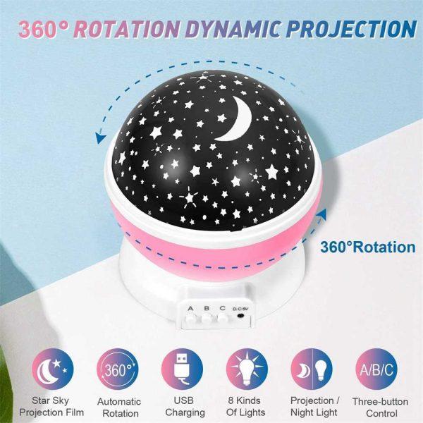 Led Night Lights Rotating Projector Starry Star Sky Light Baby Kids Bedside Lamp (21)