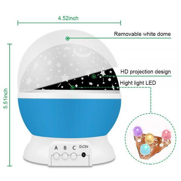 Led Night Lights Rotating Projector Starry Star Sky Light Baby Kids Bedside Lamp (5)