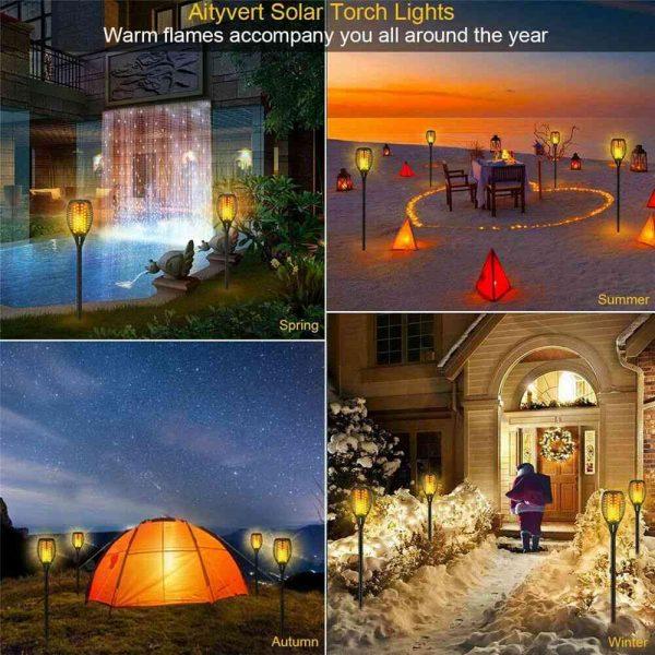 Led Solar Torch Dance Flickering Flame Light Garden Yard Lawn Waterproof Lamp (15)