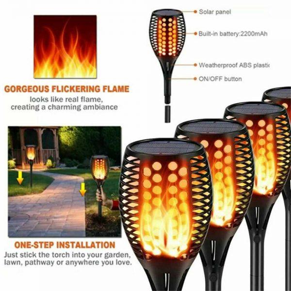 Led Solar Torch Dance Flickering Flame Light Garden Yard Lawn Waterproof Lamp (22)