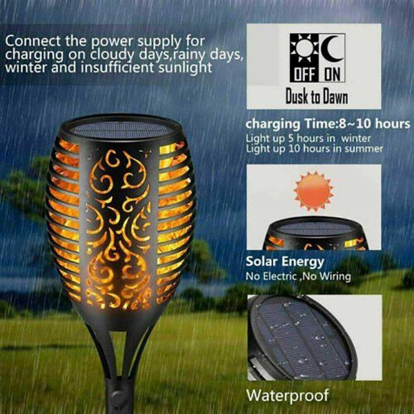 Led Solar Torch Dance Flickering Flame Light Garden Yard Lawn Waterproof Lamp (4)