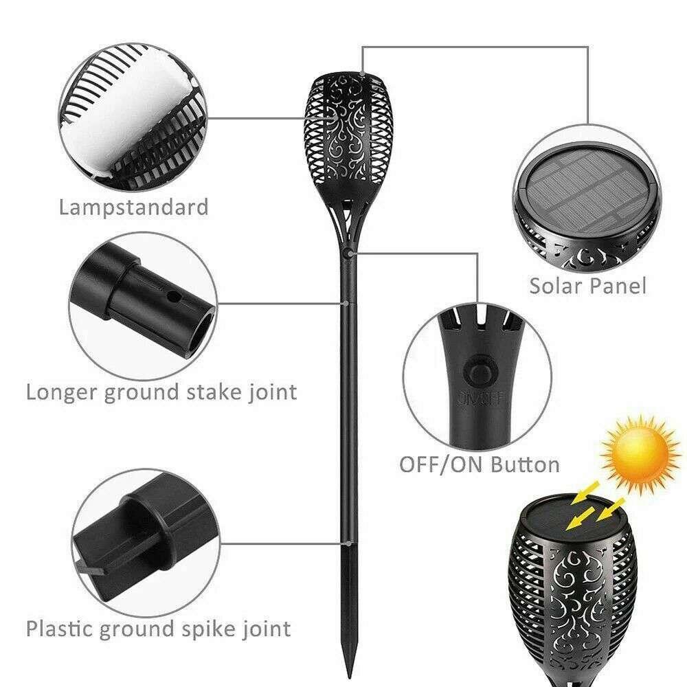 Led Solar Torch Dance Flickering Flame Light Garden Yard Lawn Waterproof Lamp (9)
