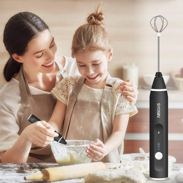 Milk Frother Electric Usb Charging Mixer 3 Speed Portable Coffee Egg Beater Tool (15)