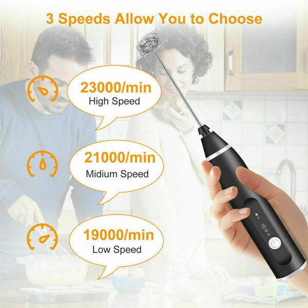 Milk Frother Electric Usb Charging Mixer 3 Speed Portable Coffee Egg Beater Tool (7)