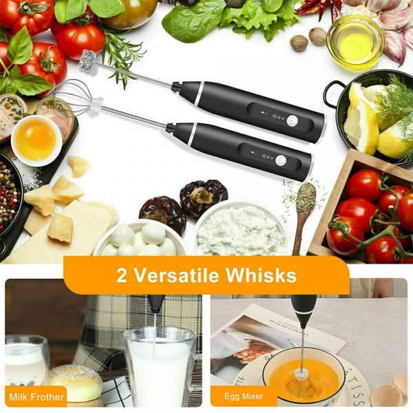 Milk Frother Electric Usb Charging Mixer 3 Speed Portable Coffee Egg Beater Tool (8)
