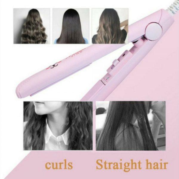 Mini Cute Hair Straightener 2 In 1 Electric Splint Flat Iron Ceramic Curler New (19)