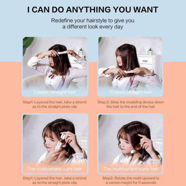 Mini Cute Hair Straightener 2 In 1 Electric Splint Flat Iron Ceramic Curler New (26)