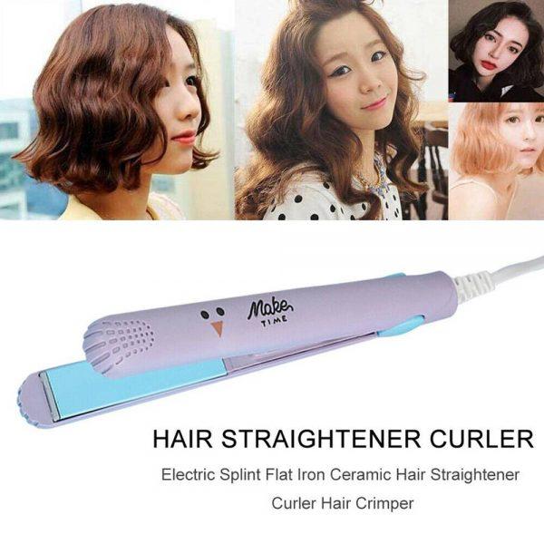 Mini Cute Hair Straightener 2 In 1 Electric Splint Flat Iron Ceramic Curler New (8)