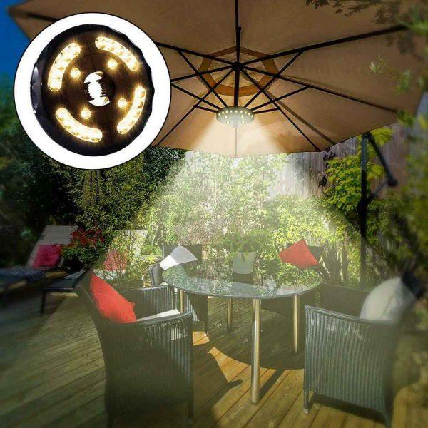 Patio Umbrella Parasol Light Camping Lamp Garden Outdoor 3 Brightness Mode 28led (12)