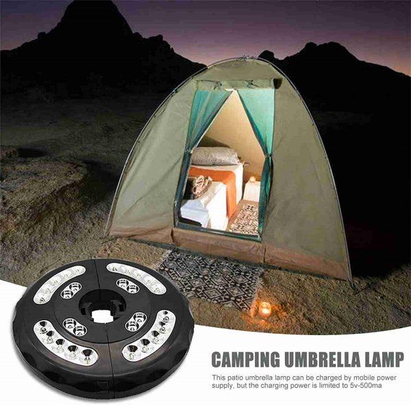 Patio Umbrella Parasol Light Camping Lamp Garden Outdoor 3 Brightness Mode 28led (7)