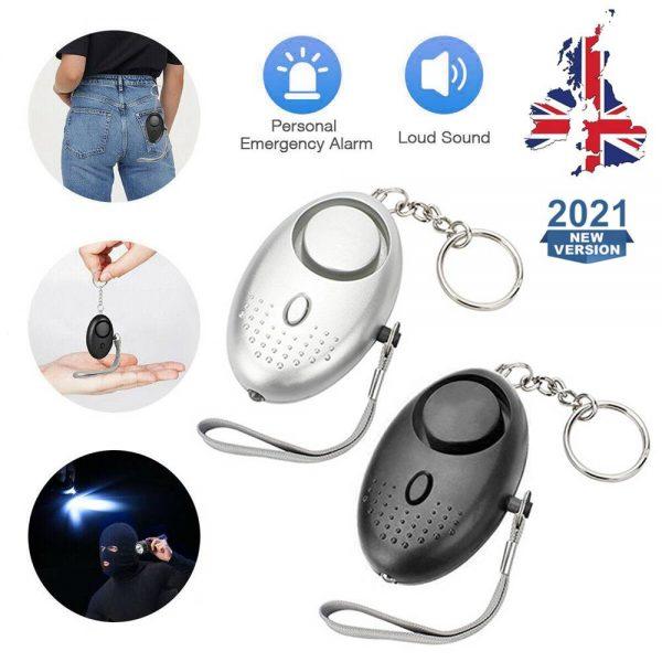 Personal Alarm Safe Sound Keychain With Led Light 140db Emergency Women Defense (2)