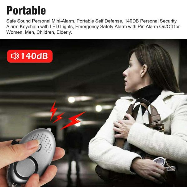 Personal Alarm Safe Sound Keychain With Led Light 140db Emergency Women Defense (6)