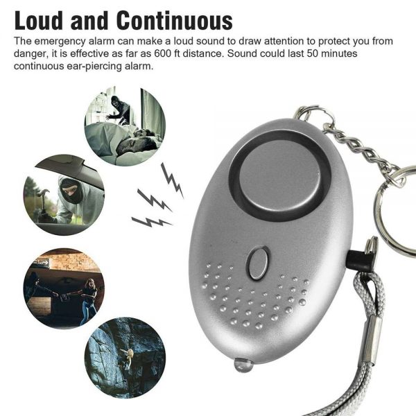 Personal Alarm Safe Sound Keychain With Led Light 140db Emergency Women Defense (7)