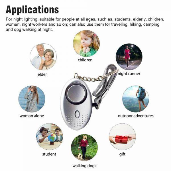 Personal Alarm Safe Sound Keychain With Led Light 140db Emergency Women Defense (8)