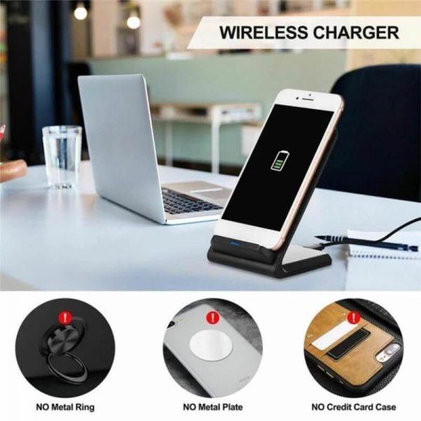 Platform Desktop Bracket 10w Wireless Charger Base Fast Charging Portable Desk Stand (2)