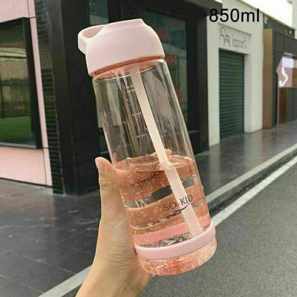 Portable Sports Water Bottle With Leakproof Blue Pink 550ml 850ml 1l (300)
