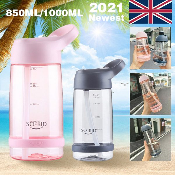 Portable Sports Water Bottle With Leakproof Blue Pink 550ml 850ml 1l (37)