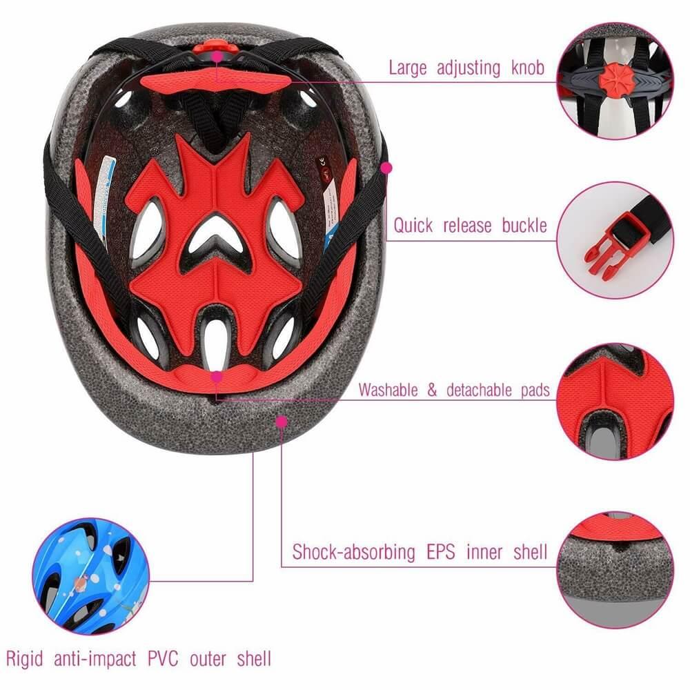 Skating Roller Skating Helmets Safety Bike Helmet Knee Elbow Protective Gear Set (1)