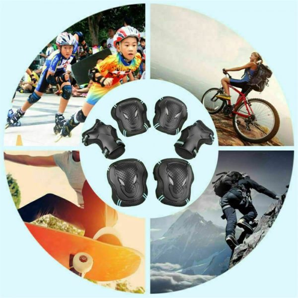 Skating Roller Skating Helmets Safety Bike Helmet Knee Elbow Protective Gear Set (6)