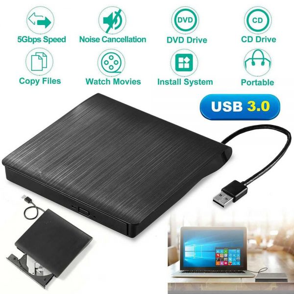 Slim External Usb 3.0 Dvd Rw Cd Writer Drive Burner Reader Player For Laptop Pc (10)