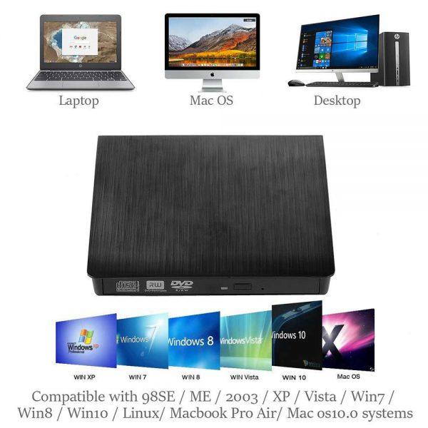 Slim External Usb 3.0 Dvd Rw Cd Writer Drive Burner Reader Player For Laptop Pc (6)