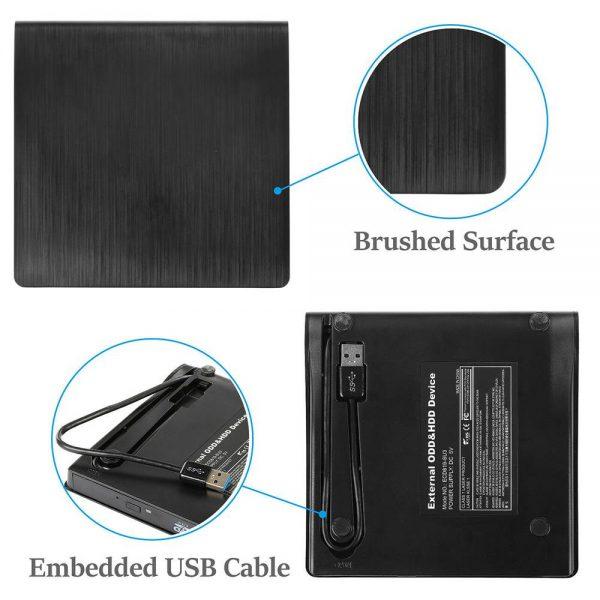 Slim External Usb 3.0 Dvd Rw Cd Writer Drive Burner Reader Player For Laptop Pc (8)
