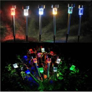 Solar Power Garden Light Waterproof Outdoor Pathway Stick 2510 Packs All In One Stainless Steel Pole (1)