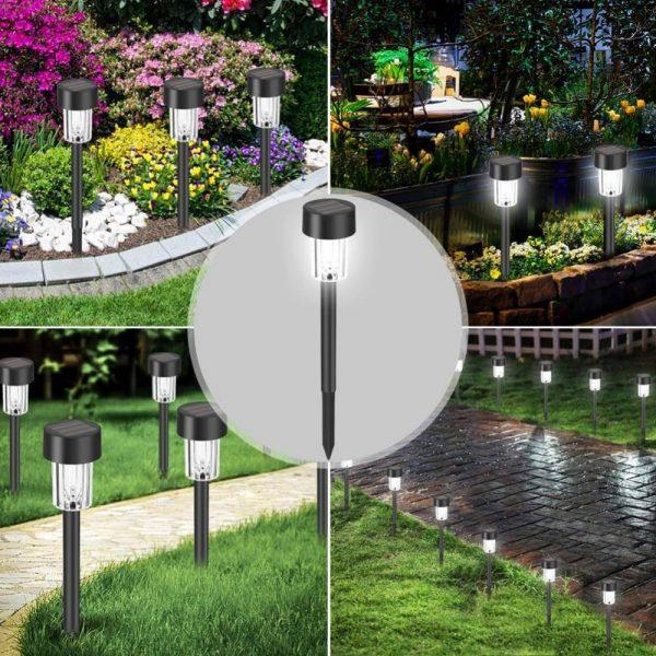 Solar Power Garden Light Waterproof Outdoor Pathway Stick 2510 Packs All In One Stainless Steel Pole (3)