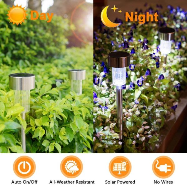 Solar Power Garden Light Waterproof Outdoor Pathway Stick 2510 Packs All In One Stainless Steel Pole (4)