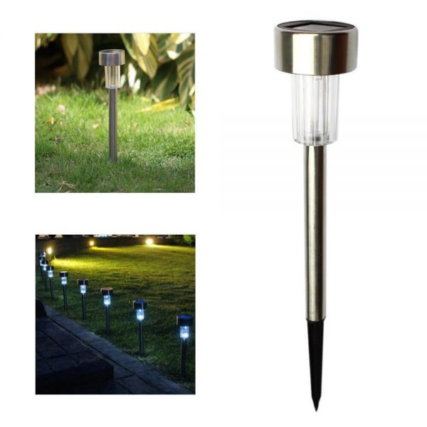 Solar Power Garden Light Waterproof Outdoor Pathway Stick 2510 Packs All In One Stainless Steel Pole (5)