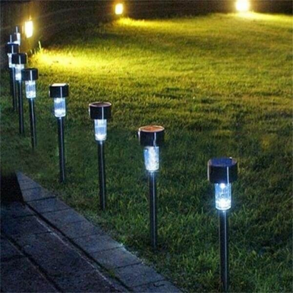 Solar Power Garden Light Waterproof Outdoor Pathway Stick 2510 Packs All In One Stainless Steel Pole (7)
