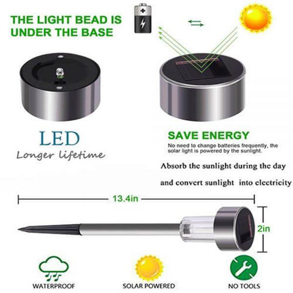 Solar Power Garden Light Waterproof Outdoor Pathway Stick 2510 Packs All In One Stainless Steel Pole (8)