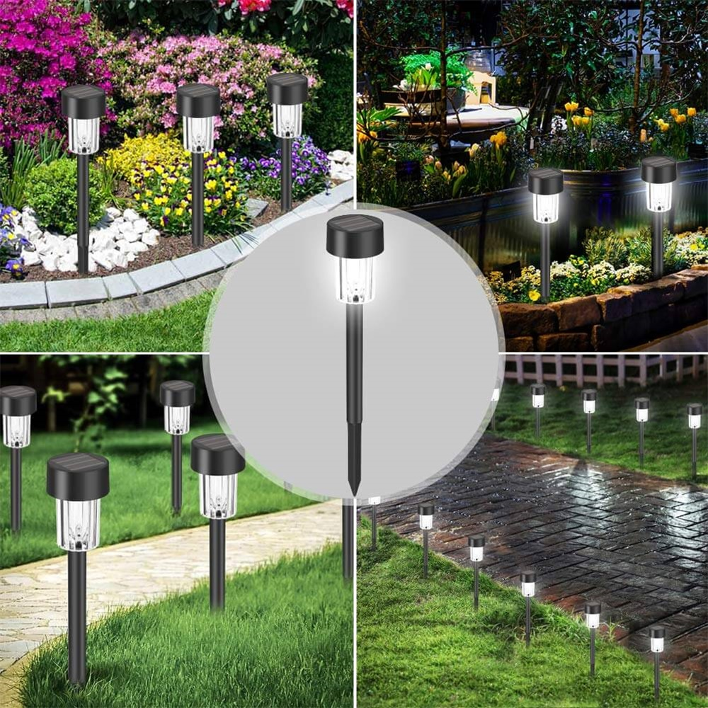 Solar Power Garden Light Waterproof Outdoor Pathway Stick 2510 Packs All In One Stainless Steel Pole (9)
