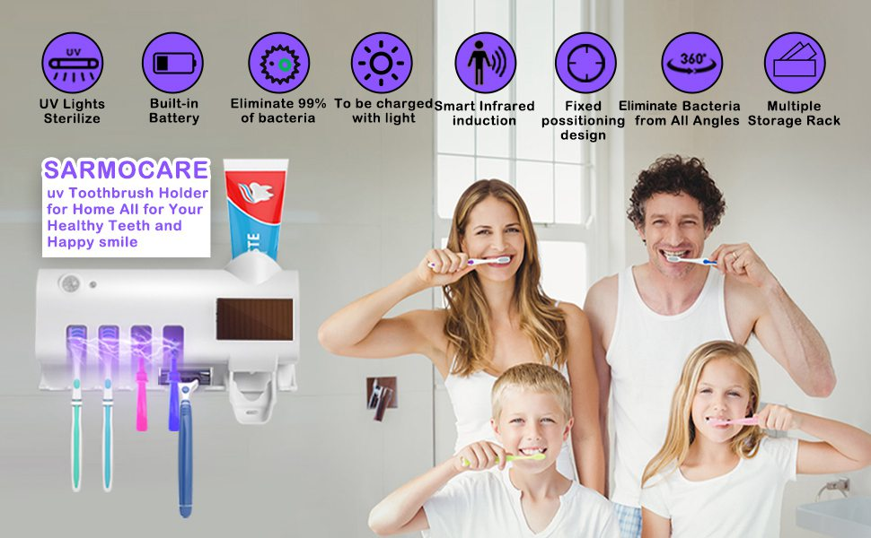 Toothbrush Sterilizer Holder&automatic Toothpaste Dispenser Stand Wall Mount Uv
