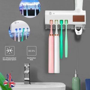 Toothbrush Sterilizer Holder&automatic Toothpaste Dispenser Stand Wall Mount Uv (1)