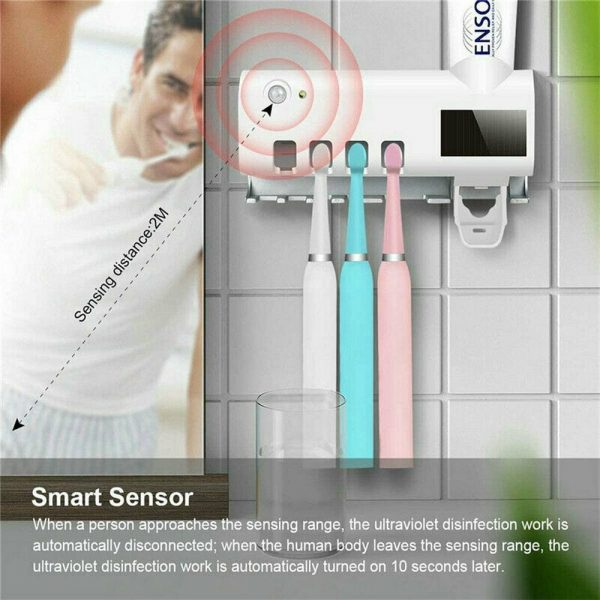Toothbrush Sterilizer Holder&automatic Toothpaste Dispenser Stand Wall Mount Uv (12)