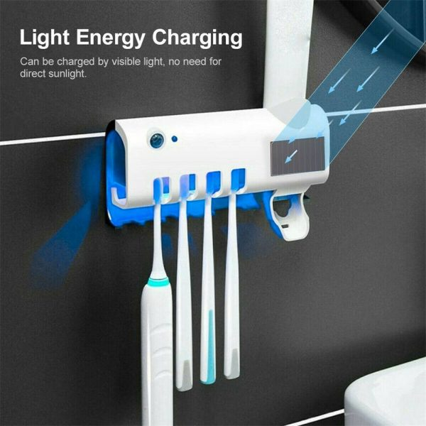 Toothbrush Sterilizer Holder&automatic Toothpaste Dispenser Stand Wall Mount Uv (3)