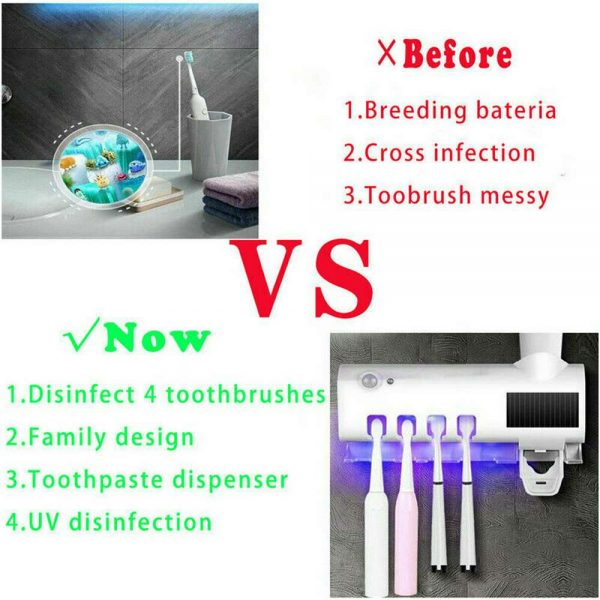 Toothbrush Sterilizer Holder&automatic Toothpaste Dispenser Stand Wall Mount Uv (8)