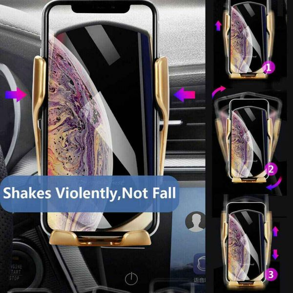 Wireless Car Charger Fast Charging Automatic Sensor Clamping Phone Holder Mount (10)
