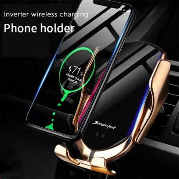 Wireless Car Charger Fast Charging Automatic Sensor Clamping Phone Holder Mount (15)