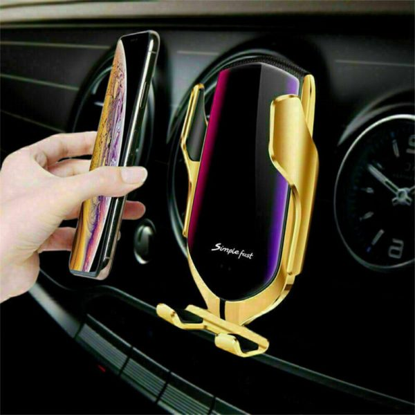 Wireless Car Charger Fast Charging Automatic Sensor Clamping Phone Holder Mount (4)