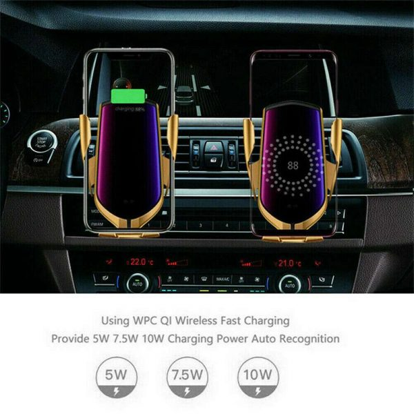 Wireless Car Charger Fast Charging Automatic Sensor Clamping Phone Holder Mount (6)