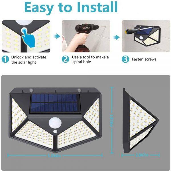 100 Led 2200mah Outdoor Garden Security Lamp Solar Powered Pir Motion Sensor Wall Lights (10)