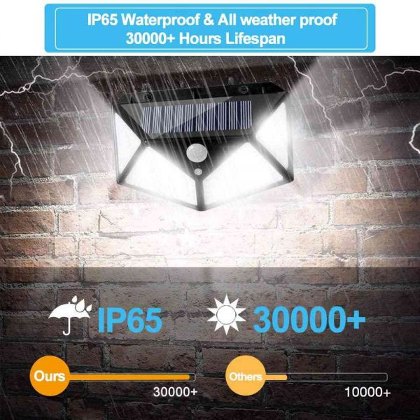 100 Led 2200mah Outdoor Garden Security Lamp Solar Powered Pir Motion Sensor Wall Lights (11)