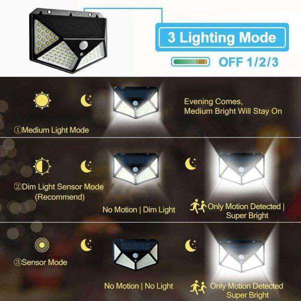 100 Led 2200mah Outdoor Garden Security Lamp Solar Powered Pir Motion Sensor Wall Lights (12)